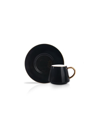 Kosova Parlak Siyah 6 Kişilik Türk Kahvesi Fincanı Siyah